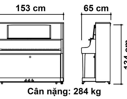 Kích thước đàn piano Kawai K800